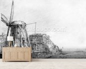 The Windmill, 1641 (etching) mural wallpaper living room preview