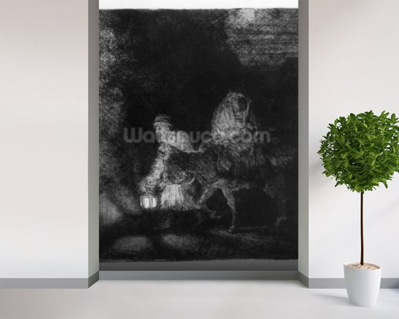 The Flight into Egypt, 1651 (etching) wallpaper mural room setting