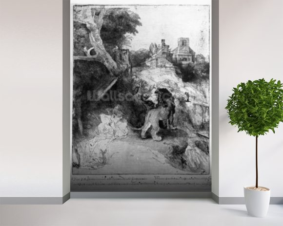 St. Jerome in an Italian landscape, c.1653 (etching) wallpaper mural room setting