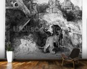 St. Jerome in an Italian landscape, c.1653 (etching) wallpaper mural kitchen preview
