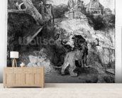 St. Jerome in an Italian landscape, c.1653 (etching) wallpaper mural living room preview
