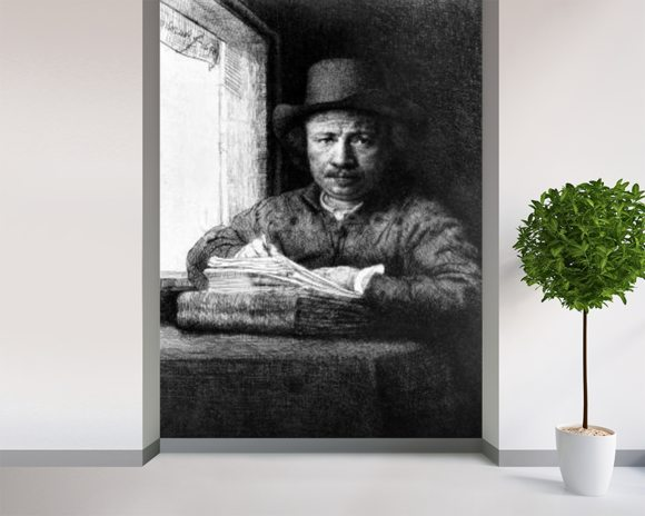 Self portrait while drawing, 1648 (etching) wallpaper mural room setting