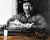 Self portrait while drawing, 1648 (etching) wallpaper mural kitchen preview