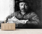 Self portrait while drawing, 1648 (etching) wallpaper mural living room preview