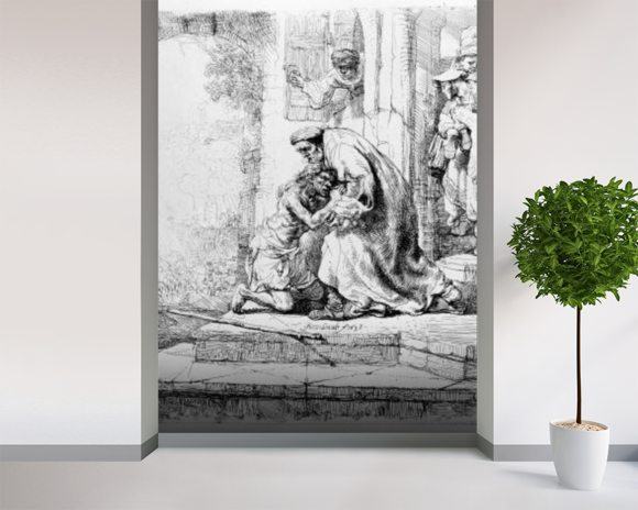 Return of the Prodigal Son, 1636 (etching) wall mural room setting