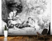 The Flute Player, 1642 (etching) wallpaper mural kitchen preview