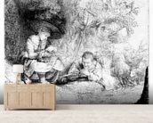 The Flute Player, 1642 (etching) wallpaper mural living room preview
