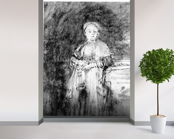 Woman with a Candle, c.1631 (pen, ink & wash on paper) wall mural room setting