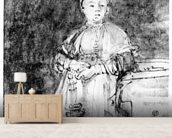Woman with a Candle, c.1631 (pen, ink & wash on paper) wall mural living room preview