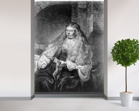 The Great Jewish Bride, 1635 (etching) mural wallpaper room setting