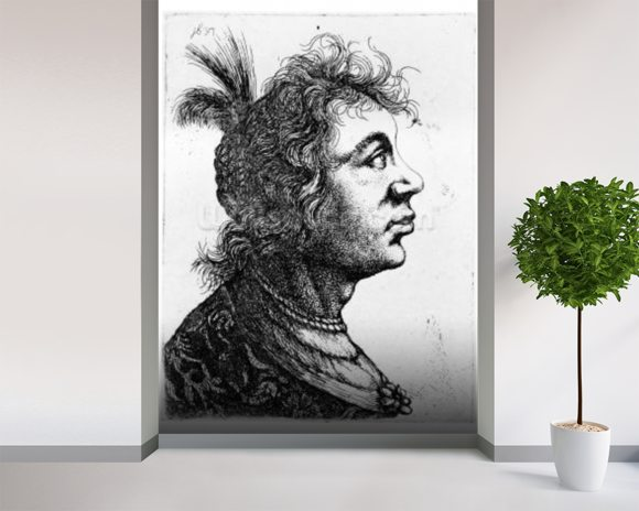 Head of a woman, 1637 (etching) wallpaper mural room setting