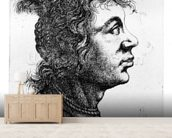 Head of a woman, 1637 (etching) wallpaper mural living room preview
