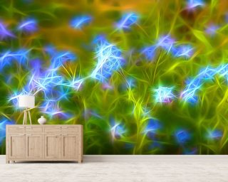 Light Forget Me Not Drops mural wallpaper