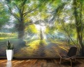 Light Misty Trees mural wallpaper kitchen preview