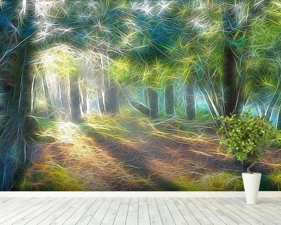 Light Shadow Trees wallpaper mural room setting