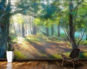 Light Shadow Trees wallpaper mural kitchen preview