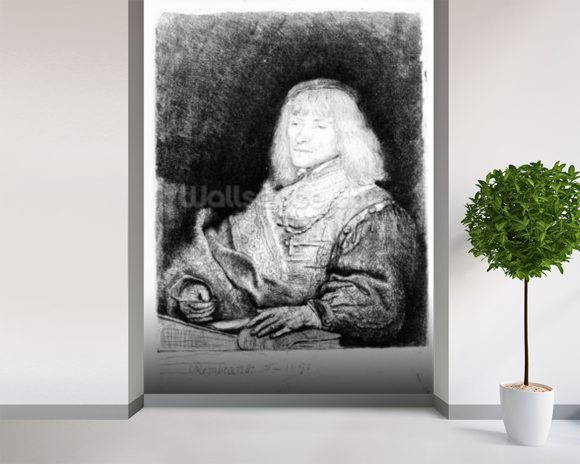 Portrait of a man at a desk, 1641 (etching) mural wallpaper room setting