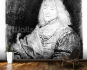 Portrait of a man at a desk, 1641 (etching) mural wallpaper kitchen preview