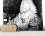 Portrait of a man at a desk, 1641 (etching) mural wallpaper living room preview