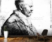 Portrait of a bald-headed man, 1630 (etching) wall mural kitchen preview