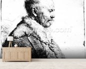 Portrait of a bald-headed man, 1630 (etching) wall mural living room preview