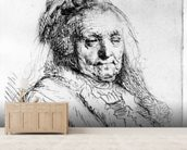 Portrait of the artists mother, 1628 (etching) wallpaper mural living room preview