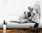 Man seated on the ground, 1646 (etching) mural wallpaper kitchen preview