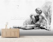 Man seated on the ground, 1646 (etching) mural wallpaper living room preview