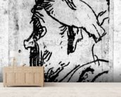Old man with a snub nose, c.1629 (etching) wallpaper mural living room preview