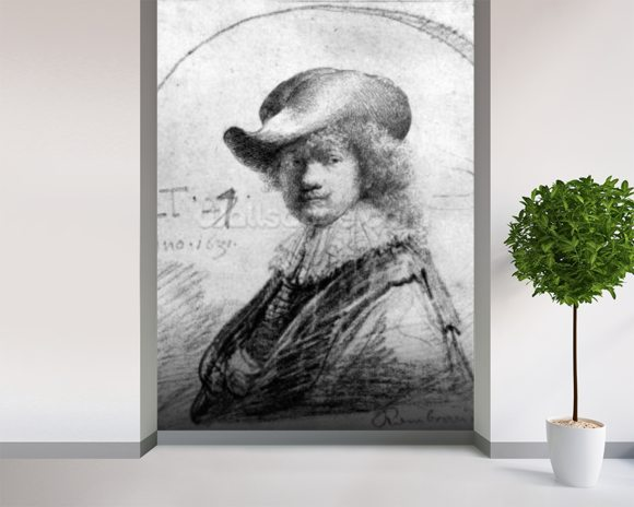 Self Portrait, c.1633 (etching) mural wallpaper room setting