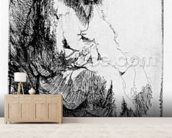 Beggar seated on a bank, 1630 (etching) wallpaper mural living room preview