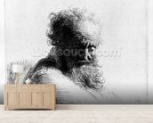 Head of an old man, 1631 (etching) wall mural living room preview