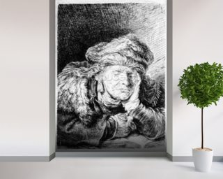 An Old Woman Sleeping Mural Wallpaper Wall Murals Wallpaper