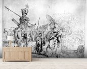 The Baptism of the Eunuch, 1641 (etching) mural wallpaper living room preview