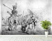 The Baptism of the Eunuch, 1641 (etching) mural wallpaper in-room view