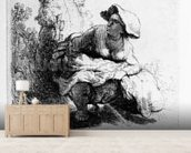Woman urinating under a tree, 1631 (etching) wall mural living room preview