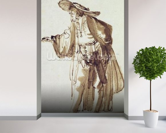 Actor with a Broad-rimmed Hat (pen and ink wash on paper) wallpaper mural room setting