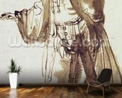 Actor with a Broad-rimmed Hat (pen and ink wash on paper) wallpaper mural kitchen preview