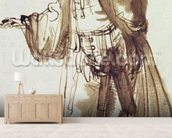 Actor with a Broad-rimmed Hat (pen and ink wash on paper) wallpaper mural living room preview