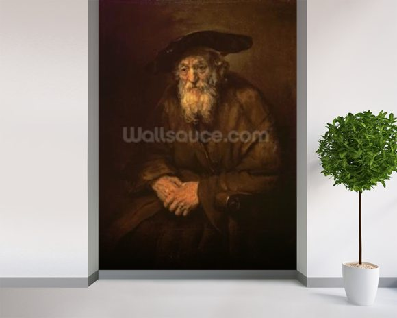 Portrait of an Old Jew (oil on canvas) mural wallpaper room setting
