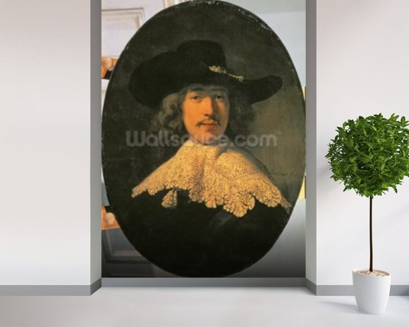 Portrait of a Young Man with a Lace Collar, 1634 (oil on canvas) wall mural room setting