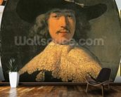 Portrait of a Young Man with a Lace Collar, 1634 (oil on canvas) wall mural kitchen preview