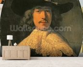 Portrait of a Young Man with a Lace Collar, 1634 (oil on canvas) wall mural living room preview