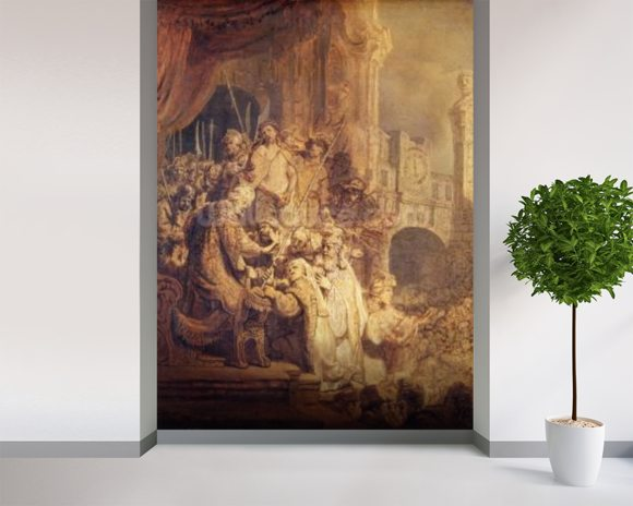 Ecce Homo, 1634 (oil on paper) mural wallpaper room setting
