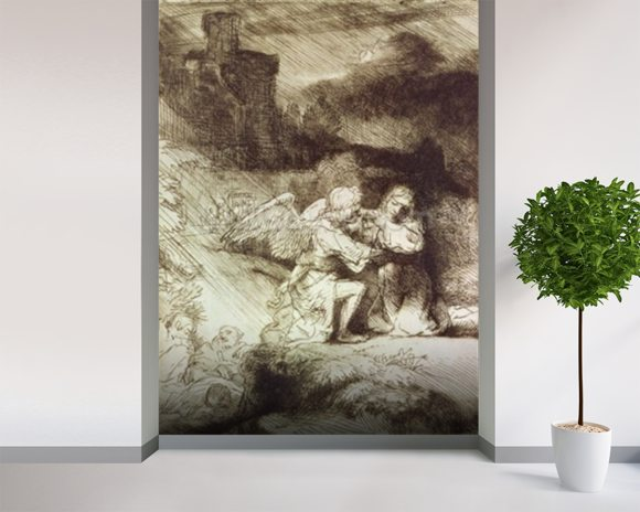 The Agony in the Garden (etching) wallpaper mural room setting