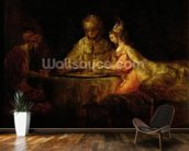 Ahasuerus (Xerxes), Haman and Esther, c.1660 (oil on canvas) mural wallpaper kitchen preview