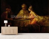 Ahasuerus (Xerxes), Haman and Esther, c.1660 (oil on canvas) mural wallpaper living room preview