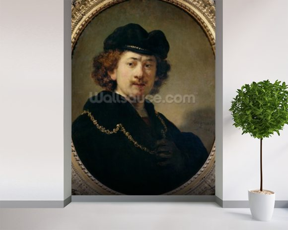 Self Portrait with Hat and Gold Chain, 1633 (oil on panel) wallpaper mural room setting
