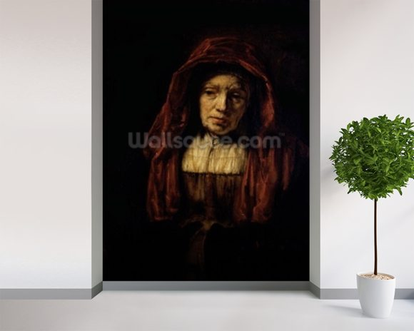 Portrait of an Old Woman mural wallpaper room setting