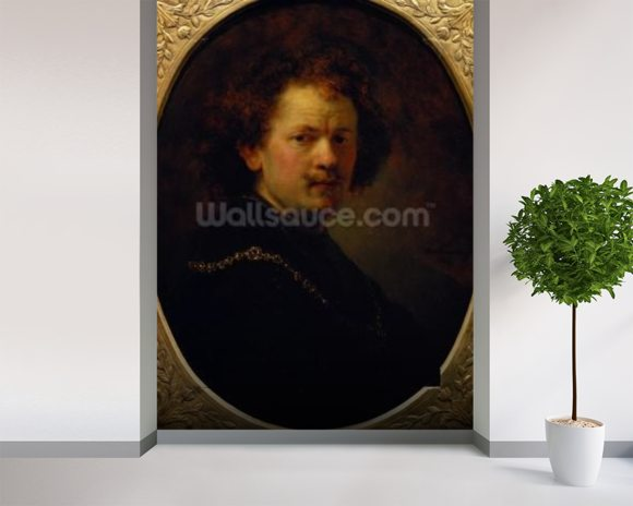 Self Portrait, 1633 (oil on panel) wall mural room setting